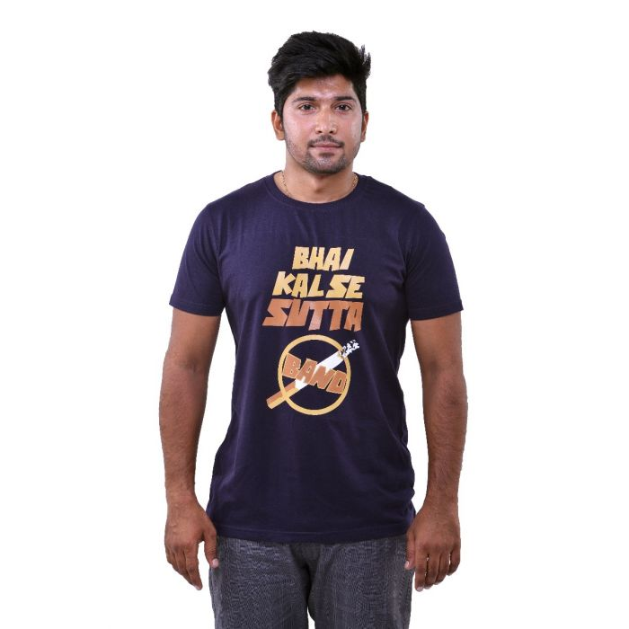 808648757 Men s Printed Blue T-Shirt Bhai Kal Se Sutta Band