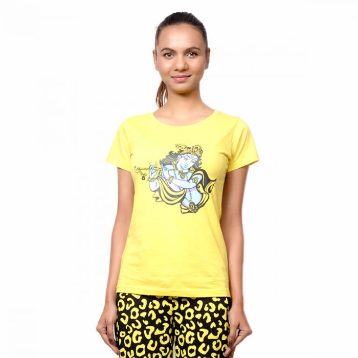 484d733b0 Tops For Girls. Buy Online Women's Yellow T-Shirt of Printed Lord Krishna