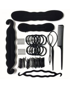 79Pcs Hair combo  Accessories Donut Hair Clips Rubber Band Rope Tie Gum Spring Hair Bun Makers Hairpins Headbands