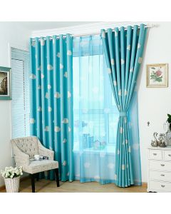 Living Room Curtain Window Door Cloud Pattern